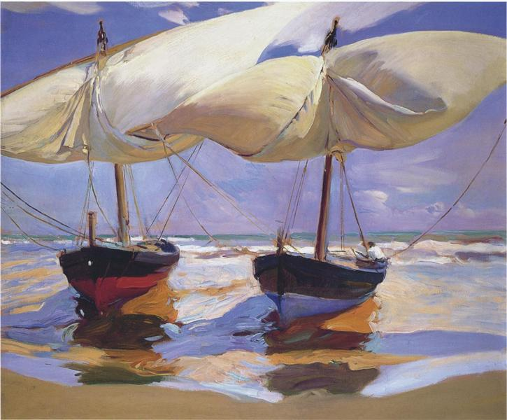 Joaquín Sorolla: Sailboats in the wind
