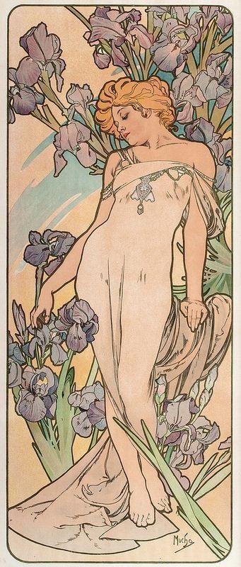 Alphonse Mucha: Woman with irises
