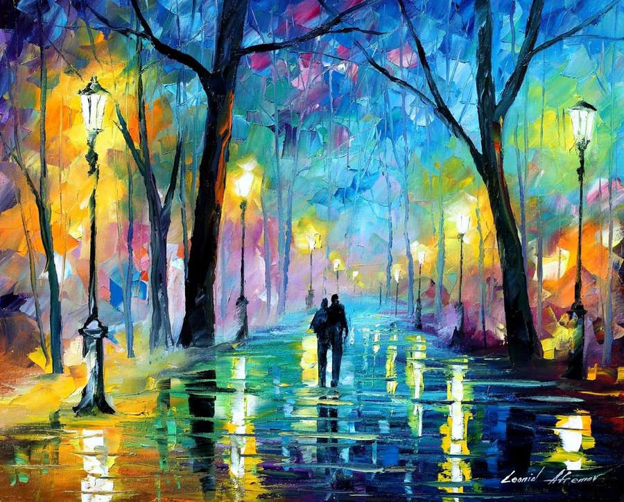 Leonid Afremov: Fog in the park